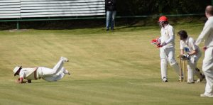 Niranjan Godbole scoops up a catch to dismiss Dale Mullan off Peter Maxwell