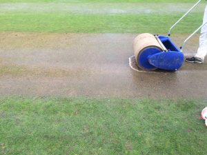 The state of the wicket at Ballymena after the deluge on Saturday