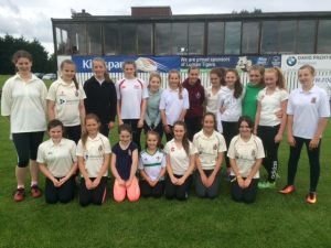 Girls from Lurgan and Donacloney clubs who practiced their bowling, fielding and batting skills in a game at Pollock Park on Friday morning