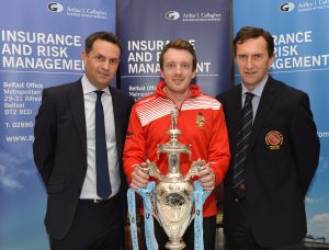 Mandatory Credit: Rowland White PressEye Cricket: Arthur J Gallagher Challenge Cup Draw Venue: Malone Golf Club Date: 22nd November 2016 Caption:  Andrew Bingham  at the draw for the early rounds   of the NCU Challenge Cup with Shane Matthews, regional managing director of sponsors Arthur J Gallagher who made the draw with Peter McMorran, president of the NCU.  The club has been drawn at home to Academy in a preliminary round, the winners of which will travel to Downpatrick in the first round. INQUIRIES:   ROBIN WALSH (077 33 100 821)      Picture of Lurgan/Waringstown with Lurgan Mail.
