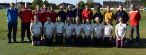 Players and officials of Lurgan Cricket Club pictured on their new artificial wickets with M L A Carla Lockhart who helped  secure funding for the project.'