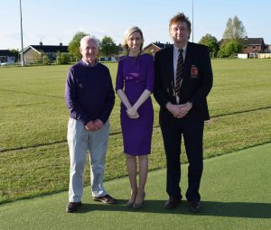 Carla Lockhart M L A pictured with left Billy Boyd chair of Lurgan Rugby Football and Cricket Club and Denis Johnston Chair of the Cricket Club.