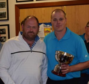 Alan Woods presents the Alan Johnston Memorial Tigers Cup to Peter Maxwell
