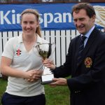 Hannah Grieve receives the Challenge Cup from NCU President Peter McMorran